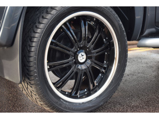22 Inch Wolf VE Black Painted 4x4 Alloy Wheel Ford Ranger 2012 On T6 With Polished Rim