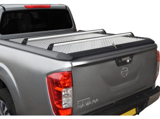 Mercedes X-Class chequer plate tonneau with cross bars fitted