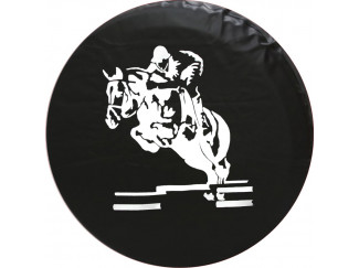 Horse Rider Black And White Soft Wheel Cover All Sizes
