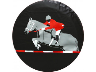 Horse Rider Red Grey And White Soft Wheel Cover All Sizes