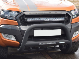 Ford Ranger 2012-2016 Black Bull Bar With Axle Bars And Integrated LED Driving Light