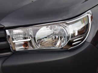 Toyota Hilux 2016 Onwards Chrome Head Lamp Covers - Invincible Model Only
