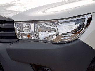 Toyota Hilux 2016 Onwards Chrome Head Lamp Covers - Icon and Active Models