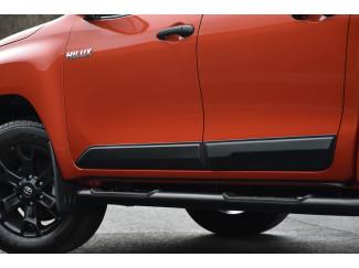 Toyota Hilux 2016 On - Matte Black Side Trims