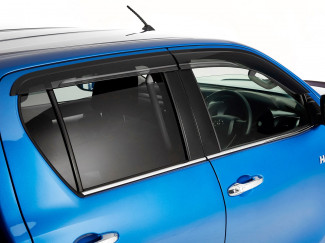 Toyota Hilux 16 Onwards Double Cab Trux Large Quad Window Deflector Visors Set Of 4