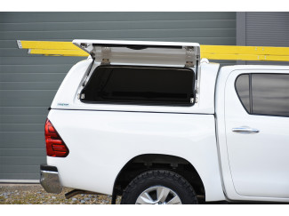 Toyota Hilux Double Cab 2016 Onwards - Pro//Top Gullwing Canopy In 1D6 Silver With Solid Rear Door