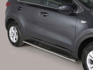 Kia Sportage 2016 Onwards Misutonida Stainless Steel 76mm Oval Side Bars with Step