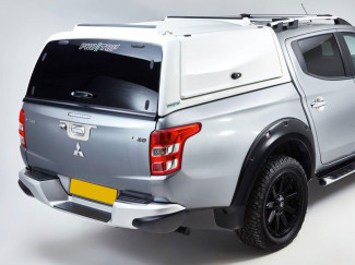 Mitsubishi L200 Double Cab 2015 Onwards Pro//Top Gullwing Truck Top In White With Glass Rear Door
