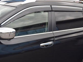 Nissan X-Trail 2014 Onwards Quad Window Deflector Visors With Chrome Strip