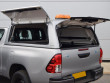 Toyota Hilux Trucktop Canopy With Open Gullwing Side Access And Solid Rear Doors Corner View
