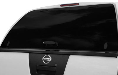 Rear heated tailgate window on the Aeroklas Leisure Canopy