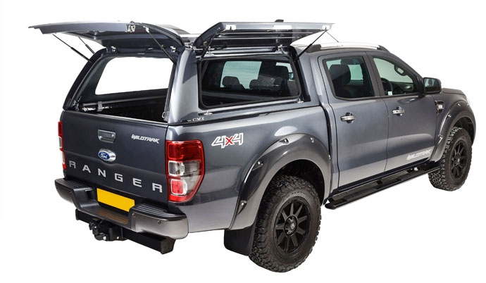 Ford Ranger with an Alpha CMX Truck top canopy with all doors open