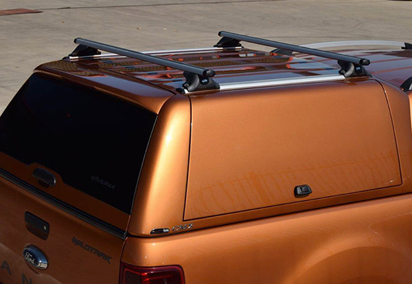 Pride Orange Alpha CMX Gullwing Canopy fitted to a Ford Ranger