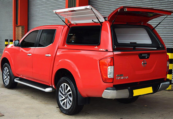 Nissan Navara NP300 with an Alpha CMX canopy on in Red Z10
