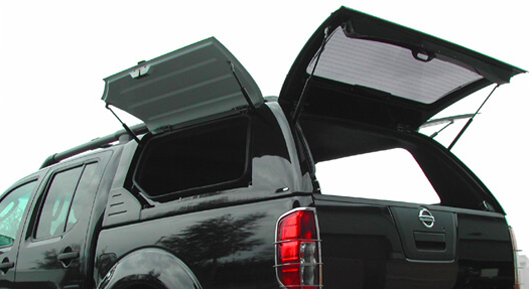 Alpha Gullwing Truck Top on a Nissan Navara with side doors and rear door open