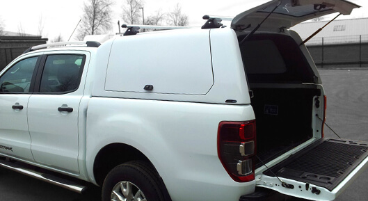 Alpha Gullwing Truck Top Canopy with rear door open