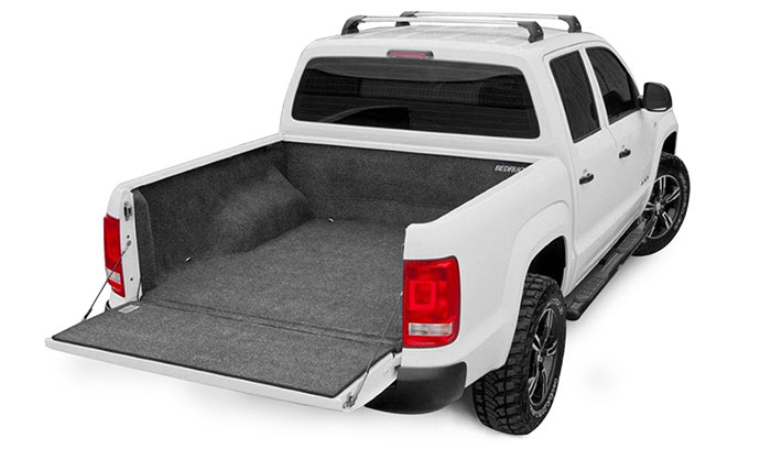 Left side view of the Bed rug liner in a pickup truck