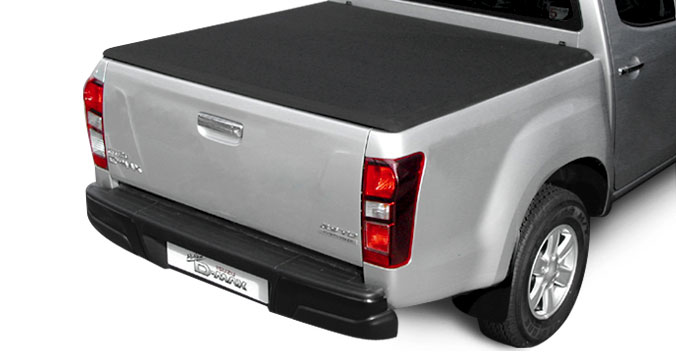 Close up of the hard tri folding tonneau cover on an Isuzu D-Max