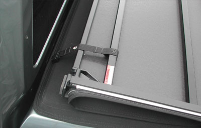 Strapped back open Hard tri folding tonneau cover