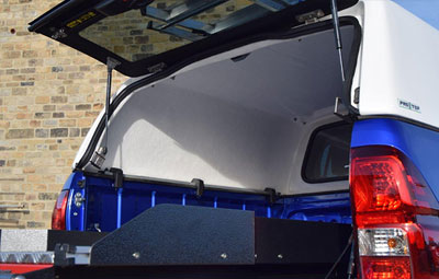 Open rear door on the ProTop Low Roof Tradesman Canopy