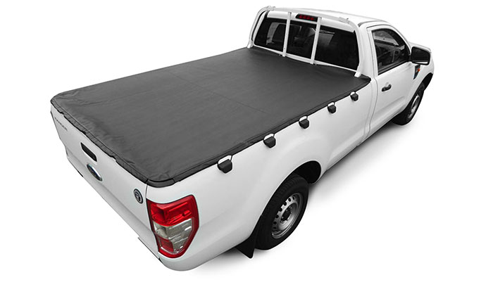 Soft hooked tonneau cover fitted fitted to a single cab pickup truck