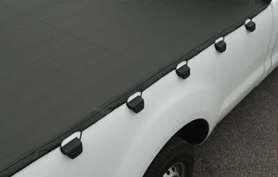 A view of the hooks used on the soft tri folding tonneau cover