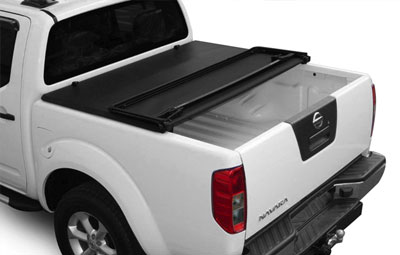 Nissan Navara double cab with fitted partially open soft tri folding tonneau cover