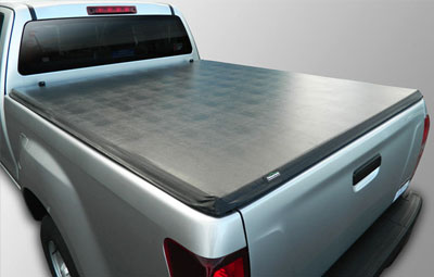 Single cab pickup fitted with a soft tri folding tonneau cover