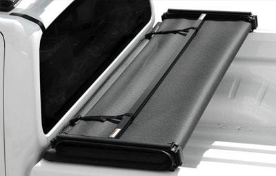Folded up open soft tri folding tonneau cover